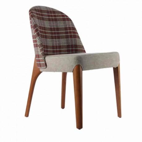 Ekose Kumaş Ahşap Ayaklı Ahşap Modern Sandalye - msab228