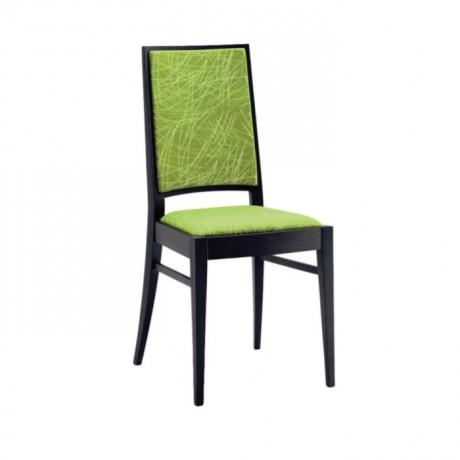 Fıstık Yeşil Desenli Kumaş Döşemeli Siyah Boyalı Modern Sandalye - msag30