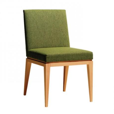 Fıstık Yeşili Kumaş Döşemeli Natürel Ahşap Modern Sandalye - msaf35