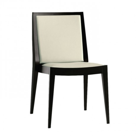 Gri Deri Döşemeli Siyah Parlak Lake Boyalı Modern Sandalye - msag58