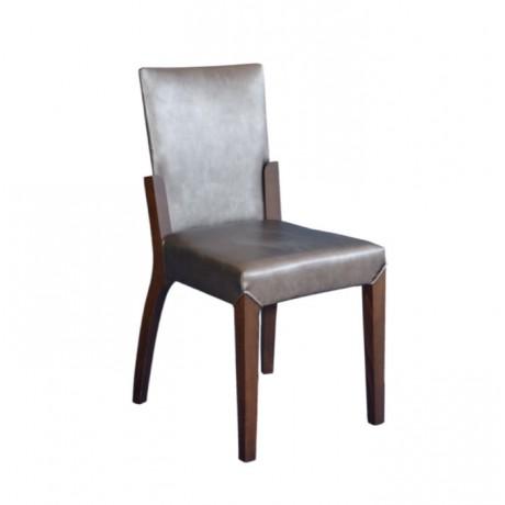 Gri Derili Ahşap Modern Otel Sandalyesi - msad37