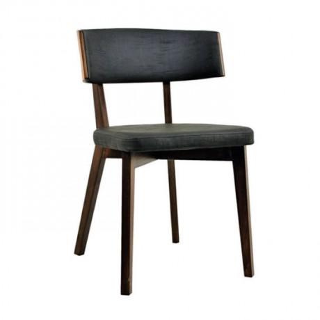 Gri Kumaş Döşemeli Koyu Eskitme Boyalı Kafe Sandalyesi - msag41