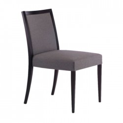 Gray Fabric Upholstered with Black Painted Hotel Room Chair