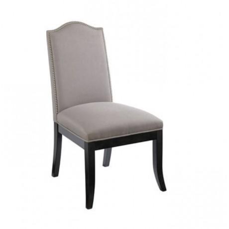 Gri Kumaşlı Siyah Ayaklı Salon Sandalyesi - msag140