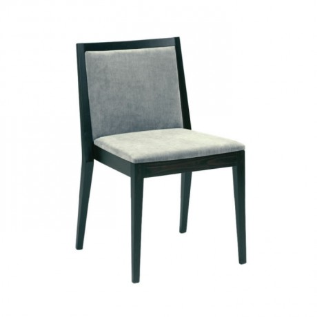 Gri Kumaşlı Siyah Boyalı  Modern Sandalye - msag80