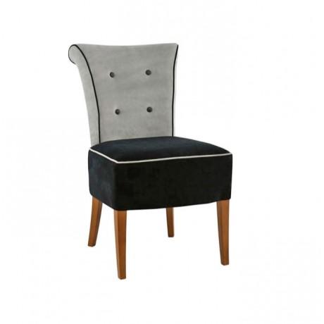 Gri-Siyah Kumaş Döşemeli Düğmeli Ahşap Modern Sandalye - msad35