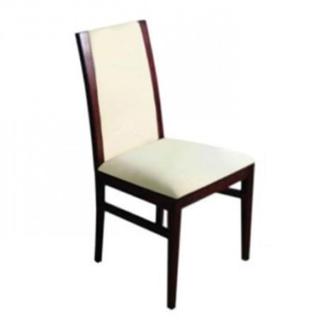 Gürgen Ahşaplı Bej Deri Döşemeli Modern Sandalye - msaf19