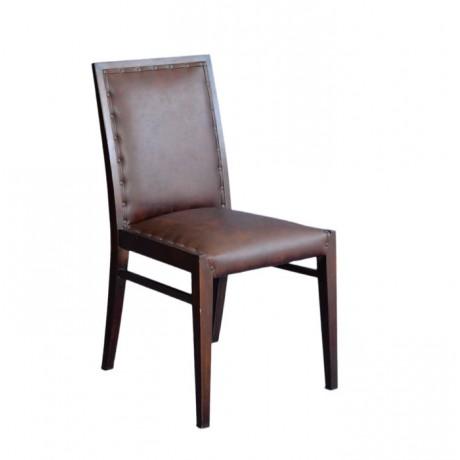 Kahve Deri Döşemeli Kabaralı Modern Sandalye - msag39