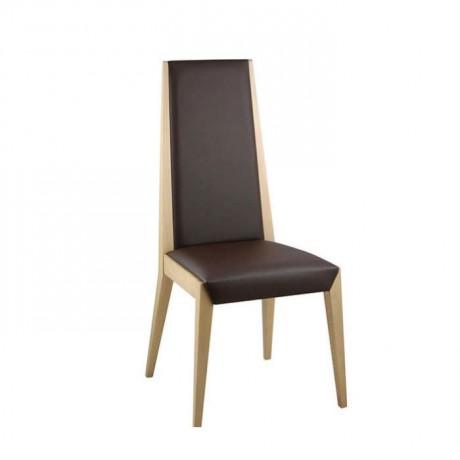 Kahve Deri Döşemeli Natural Ahşap Boyalı Modern Sandalye - msag24
