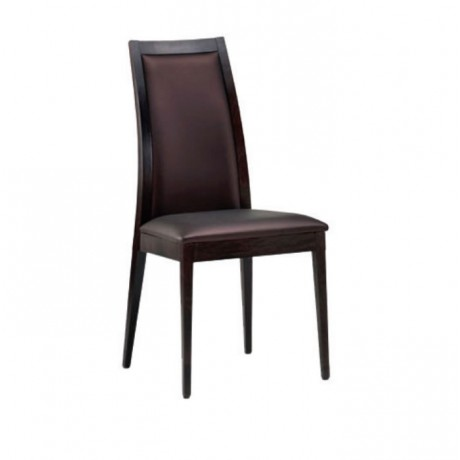 Kahve Derili Modern Salon Ahşap Sandalyesi - msag93