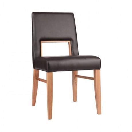 Kahve Derili Natural Boyalı Yemekhane Sandalyesi - msag86