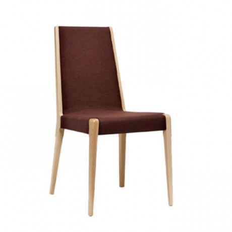 Kahve Kumaşlı Natural Ahşaplı Modern Sandalye - msag131