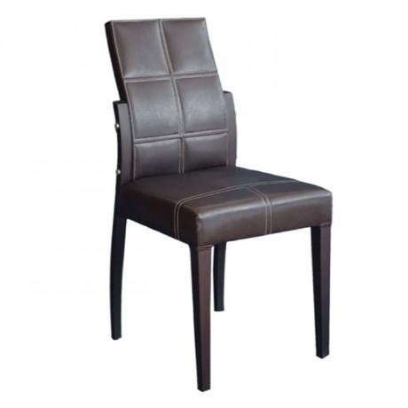 Kahverengi Deri Dikişli Modern Sandalye - msad19
