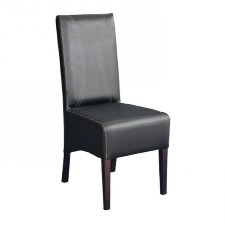 Kahverengi Deri Döşemeli Ahşap Modern Sandalye - msab243