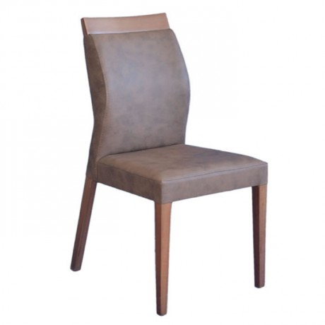 Kahverengi Deri Döşemeli Modern Cafe Sandalyesi - msab233