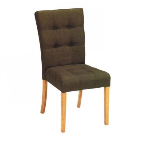 Kapitoneli Kahve Kumaşlı Natural Ayak Boyalı Sandalye - msag84