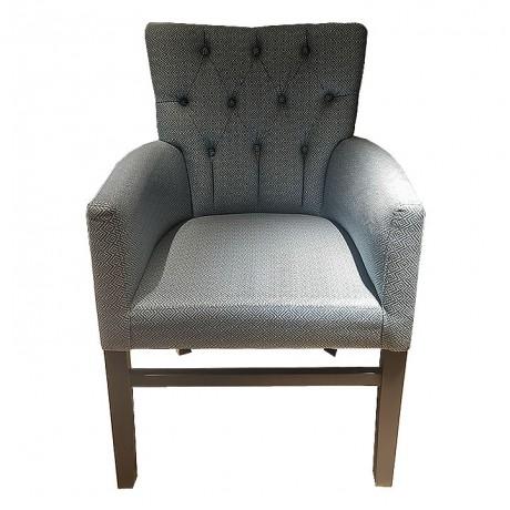 Kare Kot Desenli Kumaş Döşemeli Kapitoneli Sırtlı Modern Cafe Otel Sandalyesi - Ahşap Modern Kollu Sandalye