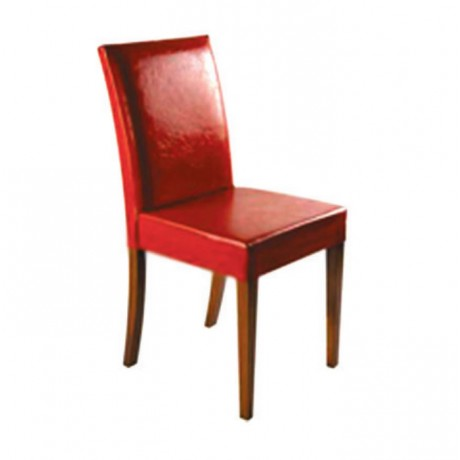 Kırmızı Deri Döşemeli Ahşap Modern Sandalye - msad02