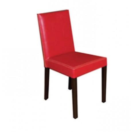 Kırmızı Deri Döşemeli Wenge Boyalı Sandalye - msad03