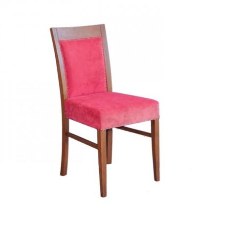 Kırmızı Kumaşlı Ahşap Boya Renkli Otel Sandalyesi - msaf42