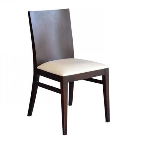 Kontra Sırtlı Krem Döşemeli Modern Kafe Sandalyesi - msag40