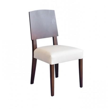 Kontralı Beyaz Deri Döşemeli Modern Sandalye - msaf45