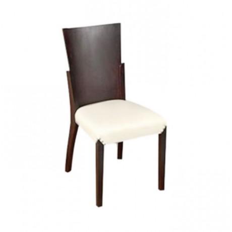 Kontralı Beyaz Deri Döşemeli Modern Yemek Odası Sandalyesi - msag01
