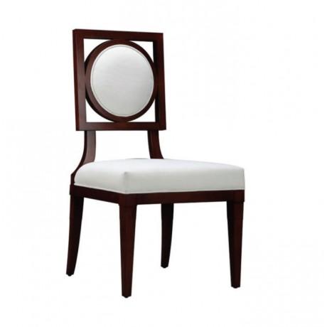 Koyu Ahşap Boyalı Yuvarlak Sırtlı Modern Sandalye - msag115