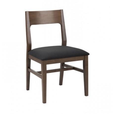 Koyu Ceviz Renkli Siyah Döşemeli Ahşap Modern Sandalye - msag135