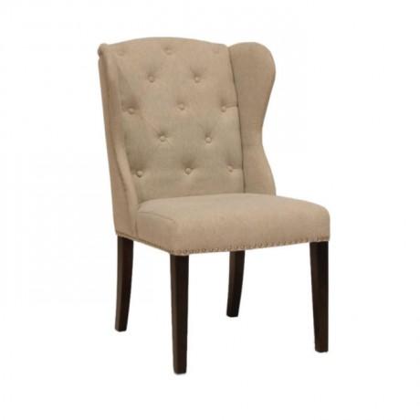Krem Deri Döşemeli Düğmeli Modern Sandalye - msad29