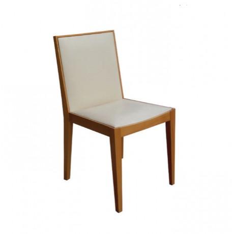 Krem Derili Meşe Boyalı Modern Sandalye - msag38