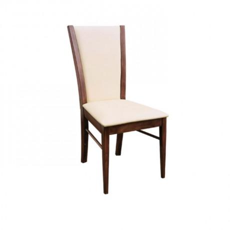 Krem Kumaş Döşemeli Koyu Eskitme Yemek Takımı Sandalyesi - msag18