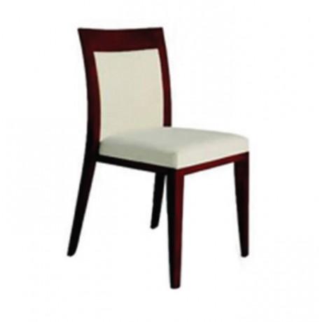 Mahogany Boyalı Beyaz Kumaş Döşemeli Modern Sandalye - msag49