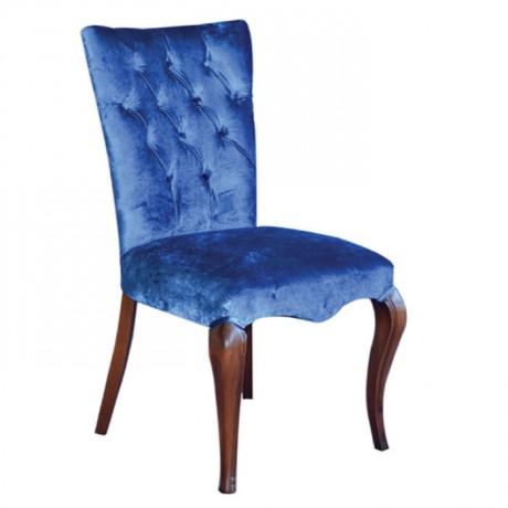 Mavi Kumaş Döşemeli Kapitoneli Restoran Sandalyesi - msab236