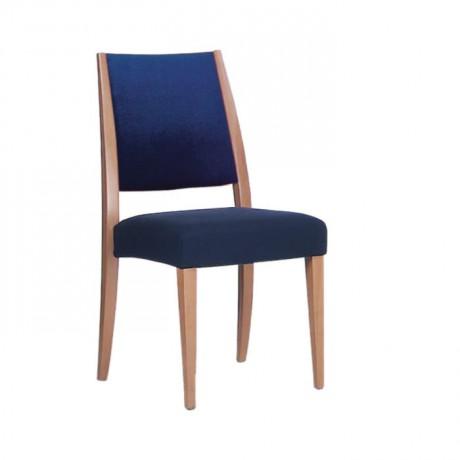 Mavi Kumaşlı Natural Boyalı Modern Sandalye - msag29