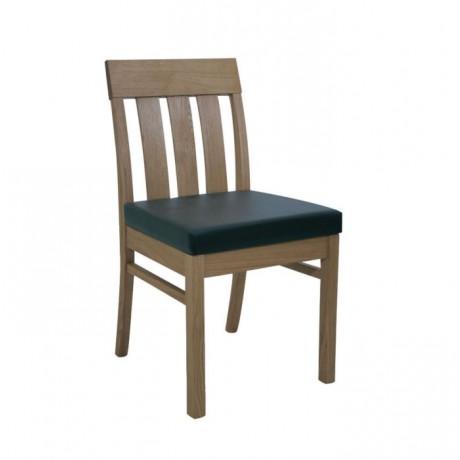 Meşe Ahşaplı Siyah Derili Modern Restoran Sandalyesi - msag37