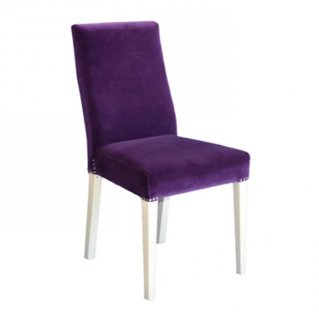 Mor Kumaş Döşemeli Beyaz Ayaklı Modern Sandalye - msab238