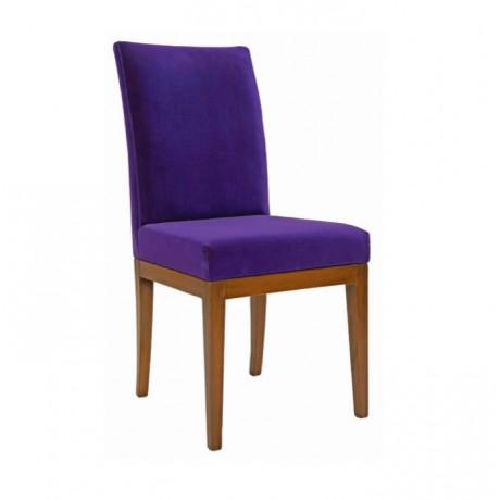 Mor Kumaşlı Ahşap Modern Kafeterya Sandalyesi - msag99
