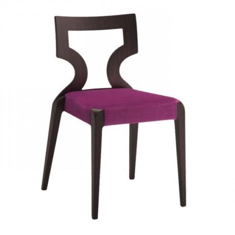 Mürdüm  Kumaş Döşemeli Koyu Venge Boyalı Salon Sandalyesi - msag46