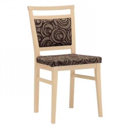 Natürel Boyalı Kahverengi Desenli Kumaş Döşemeli Modern Sandalye - msag51