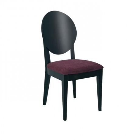 Oval Kontra Sırtlı Siyah Boyalı Mürdüm Kumaşlı Modern Sandalye - msag75