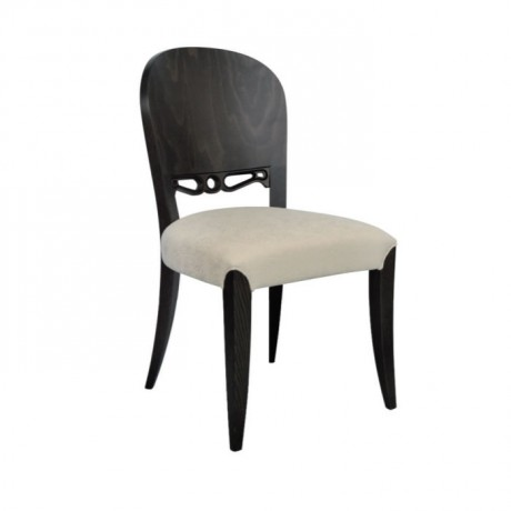 Papel Kontra Sırtlı Krem Deri Döşemeli Otel Sandalyesi - msag53