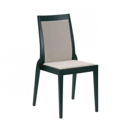 Siyah Boyalı Beyaz Kumaşlı Yemek Odası Sandalyesi - msag60