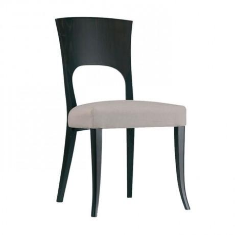 Siyah Boyalı Gri Deri Döşemeli Modern Yemekhane Sandalyesi - msag62