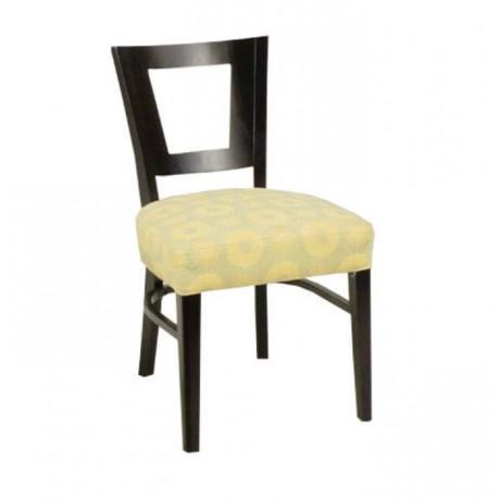 Siyah Boyalı Krem Deri Döşemeli Modern Cafe Sandalyesi - msag36