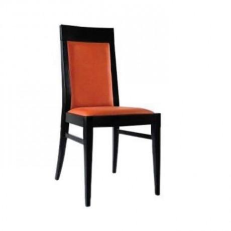 Siyah Boyalı Turuncu Kumaşlı Moderen Restaurant Sandalye - msag125