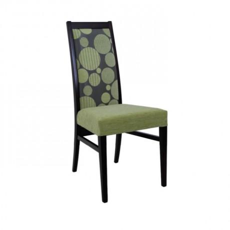 Siyah Boyalı Yeşil Desenli Kumaşlı Modern Yemekhane Sandalyesi - msag73