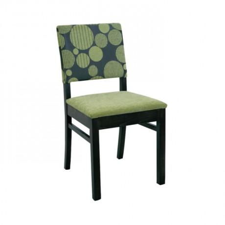 Siyah Boyalı Yeşil Siyah Kumaşlı Modern Ahşap Sandalye - msag74