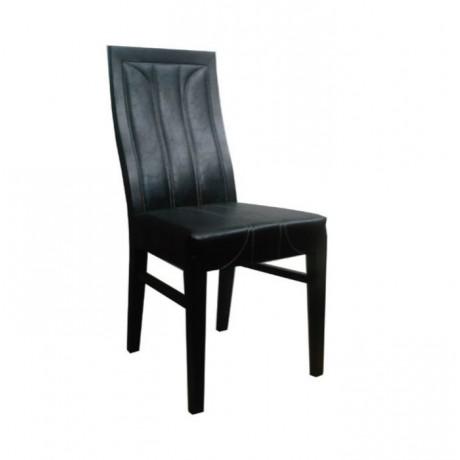 Siyah Deri Dikişli Wenge Boyalı Ahşap Sandalye - msaf09
