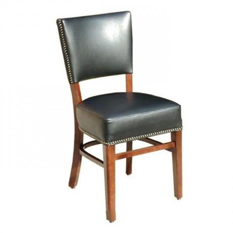 Siyah Deri Döşemeli Ahşap Restoran Sandalyesi - msad25